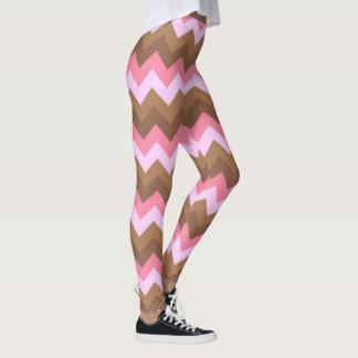 Teste padrão do rosa e de ziguezague de Brown Legging