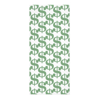 Teste padrão do símbolo do dólar 10.16 x 22.86cm panfleto