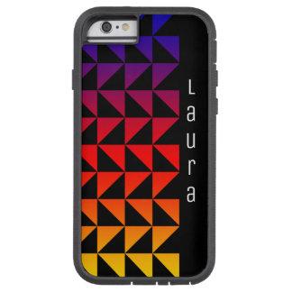 Teste padrão do triângulo do arco-íris com nome capa tough xtreme para iPhone 6