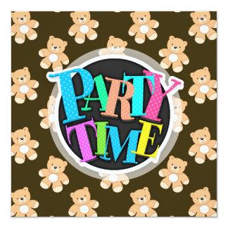 Teste padrão do urso de ursinho de Brown Convite Quadrado 13.35 X 13.35cm