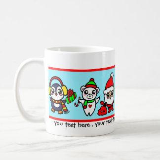 Teste padrão doce do caráter do Natal de Kawaii Caneca De Café