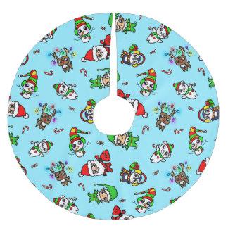 Teste padrão doce do caráter do Natal de Kawaii Saia Para Árvore De Natal De Poliéster