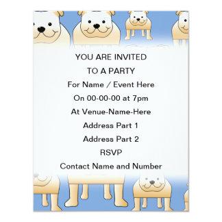 Teste padrão dos cães. Buldogues da jovem corça no Convite 10.79 X 13.97cm
