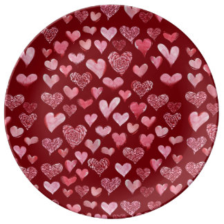 teste padrão dos corações pratos de porcelana