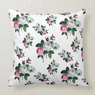 Teste padrão dos rosas brancos do rosa do chique almofada