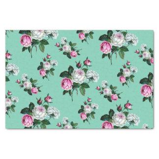 Teste padrão dos rosas brancos do rosa do chique papel de seda