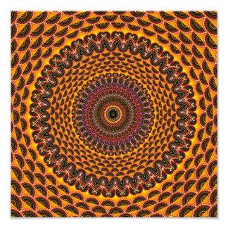 Teste padrão dourado da mandala do arco-íris impressão fotográficas
