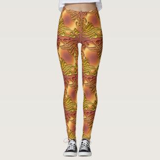 teste padrão dourado metálico legging