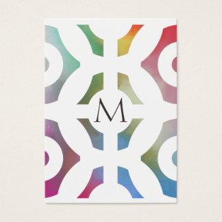 Teste padrão e monograma geométricos coloridos cartão de visitas