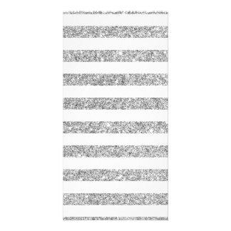 Teste padrão elegante da listra do brilho da prata cartão