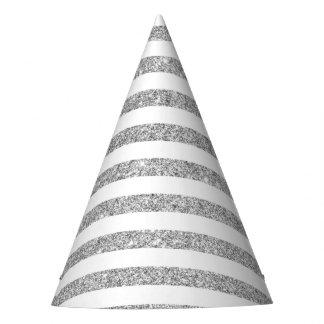 Teste padrão elegante da listra do brilho da prata chapéu de festa