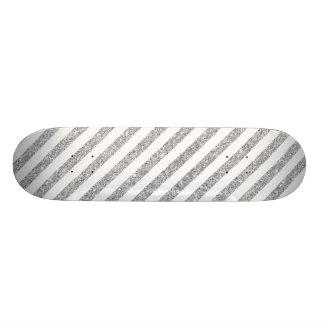 Teste padrão elegante da listra do brilho da prata shape de skate 19,7cm