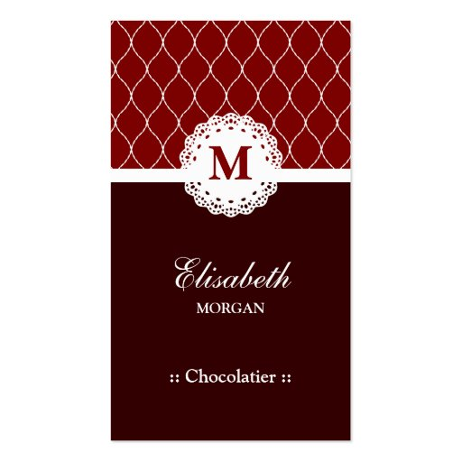 Teste padrão elegante do laço de Chocolatier Brown Modelo Cartao De Visita