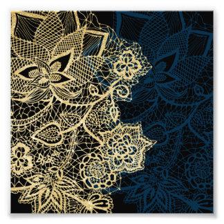 Teste padrão elegante dos azuis marinhos do laço impressão de foto