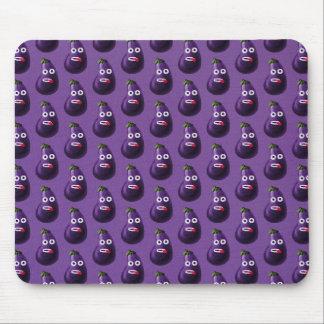 Teste padrão engraçado roxo da beringela dos mouse pad
