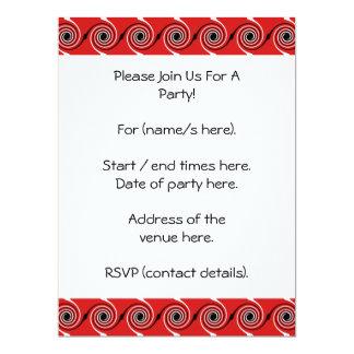 Teste padrão espiral vermelho, preto e branco do convite personalizado