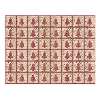 Teste padrão feito malha vermelho de Christmassy Cartão Postal