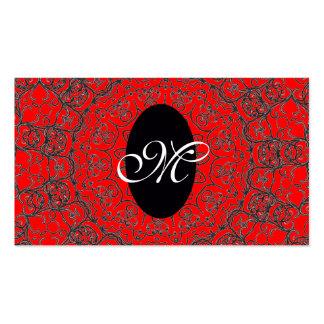Teste padrão feminino elegante do monograma/Casa-d Cartões De Visitas