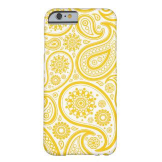 Teste padrão floral amarelo do monograma de capa barely there para iPhone 6