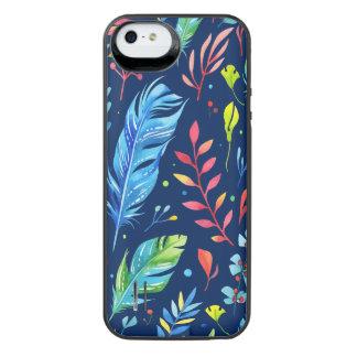 Teste padrão floral Azul-Alaranjado na moda da Capa Carregador Para iPhone SE/5/5s
