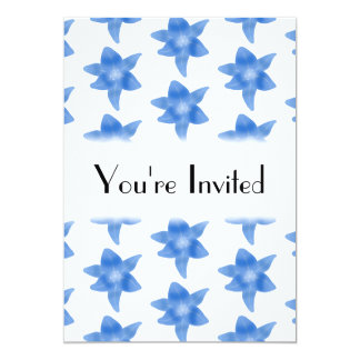 Teste padrão floral azul e branco convite