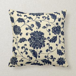 Teste padrão floral azul e de creme do vintage almofada