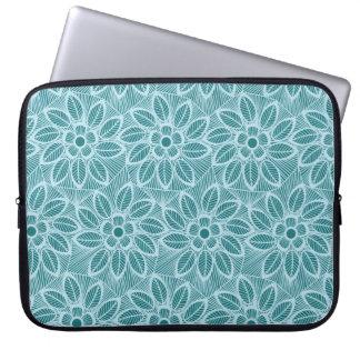 Teste padrão floral azul elegante do laço capa para notebook