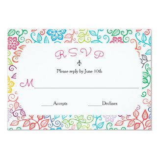 Teste padrão floral - cartão de RSVP