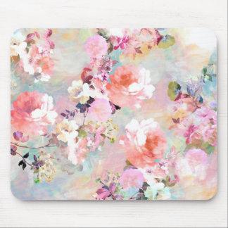 Teste padrão floral chique da aguarela cor-de-rosa mouse pad