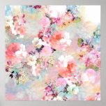Teste padrão floral chique da aguarela cor-de-rosa poster