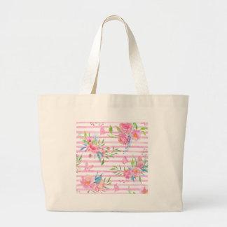 Teste padrão floral cor-de-rosa da aguarela com bolsa tote grande