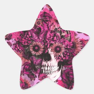 Teste padrão floral cor-de-rosa do crânio do ohm adesito estrela