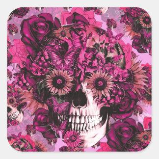 Teste padrão floral cor-de-rosa do crânio do ohm adesivo quadrado