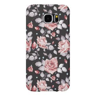 Teste padrão floral cor-de-rosa do vintage capas samsung galaxy s6