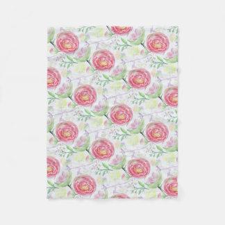 Teste padrão floral da aguarela moderna cobertor de velo