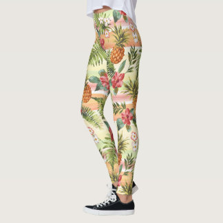 Teste padrão floral da listra da fruta tropical leggings