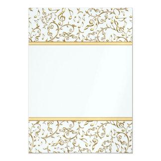 Teste padrão floral da música do ouro no branco ou convite 12.7 x 17.78cm