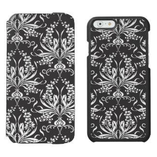 Teste padrão floral de Nouveau da arte preto e