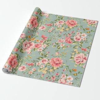 Teste padrão floral do jardim do vintage do papel de presente
