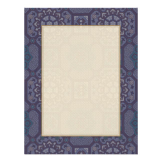Teste padrão floral do país roxo empoeirado modelo de panfleto