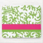 Teste padrão floral do rosa e do verde mousepad