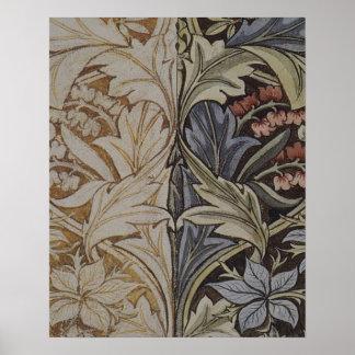 Teste padrão floral do tecido da antiguidade da poster