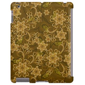 Teste padrão floral do vintage dourado capa para iPad