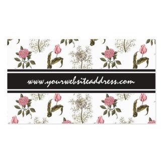 Teste padrão floral do vintage inglês velho do cartões de visita