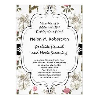 Teste padrão floral do vintage inglês velho do convite personalizado