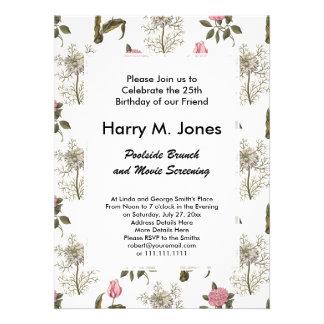 Teste padrão floral do vintage inglês velho do convites