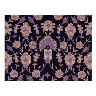 Teste padrão floral do vintage - rosa malva preto cartão postal