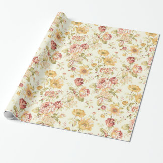 Teste padrão floral elegante papel de presente