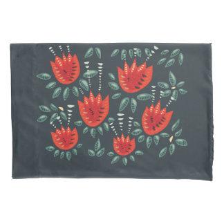 Teste padrão floral escuro da tulipa vermelha