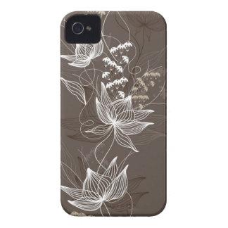 Teste padrão floral escuro de Brown Capinhas iPhone 4